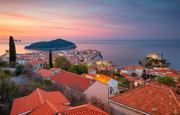 Картинка море, остров, здания, дома, панорама, Хорватия, Croatia, Дубровник, Dubrovnik, Адриатическое море, Adriatic Sea