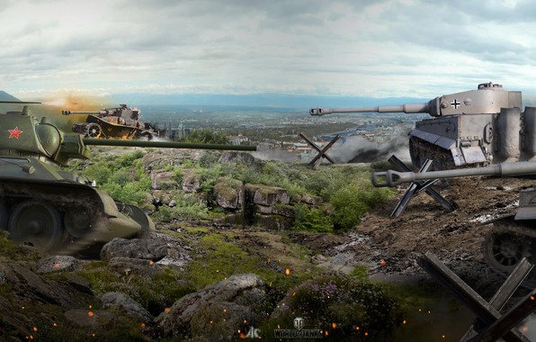 Картинка бой, панорама, сражение, танки, Т-34, World of Tanks, немецкие, советские, Tiger I, WOT