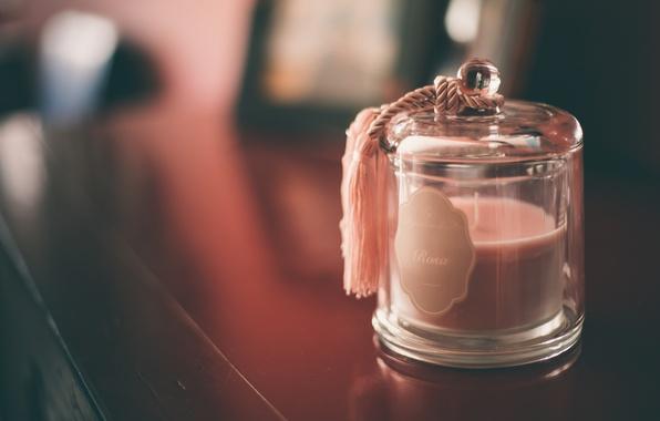 Картинка свеча, боке, баночка, Rosa