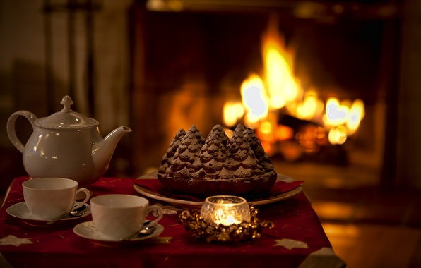Картинка тепло, настроение, праздник, чай, свеча, пирог, камин