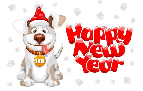Картинка праздник, новый год, собака, new year, dog, year, 2018, dog year