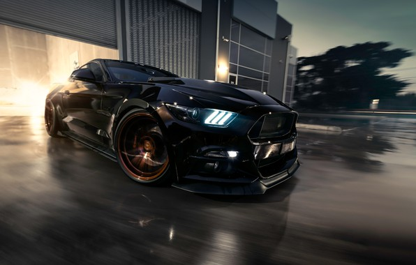 Фото обои Mustang, Ford, Muscle, Car, Black