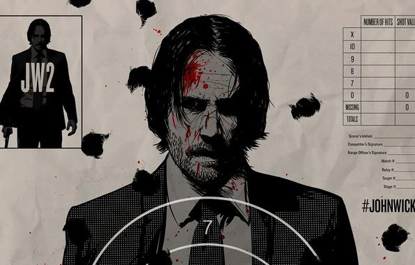 Картинка cinema, blood, man, movie, film, Keanu Reeves, powerful, strong, John Wick, target, John Wick 2, …
