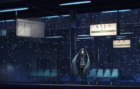 Картинка снег, ночь, станция, Япония, перрон, вывески, vocaloid, Hatsune Miku, одна, пальто, длинные волосы, вокалоид, art, …