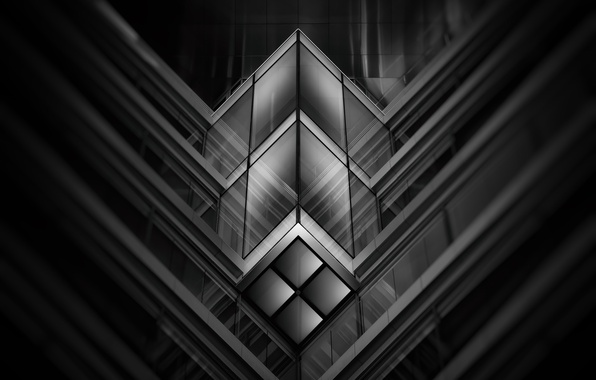 Картинка стекло, линии, узор, здание