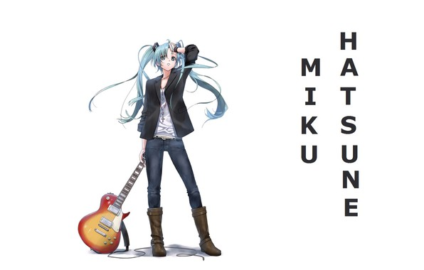 Картинка гитара, джинсы, сапоги, белый фон, vocaloid, hatsune miku, длинные волосы, вокалоид, хатсуне мику, два хвостика