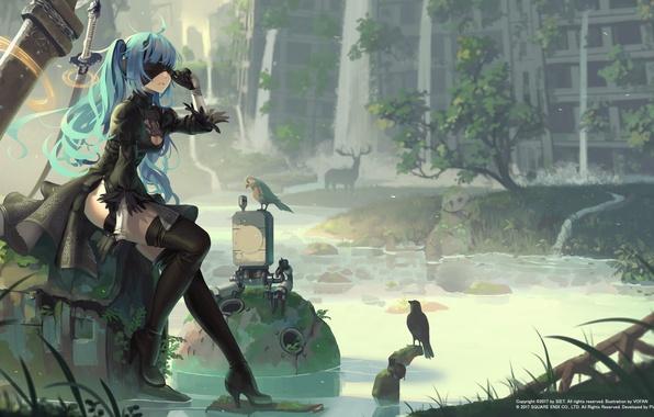 Картинка вода, девушка, оружие, птица, здание, меч, чулки, платье, перчатки, повязка, руины, vocaloid, hatsune miku, длинные …