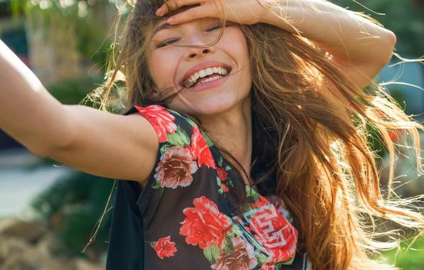 Картинка радость, улыбка, волосы, Девушка, красивая, Lyuda