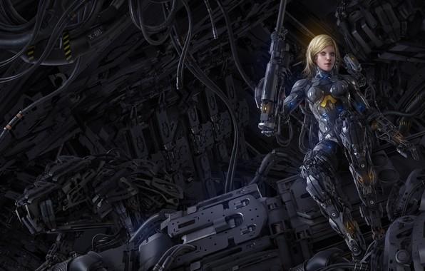 Картинка девушка, оружие, фантастика, робот, арт, блондинка, киборг, механизмы