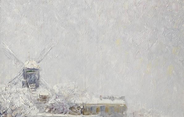 Картинка зима, масло, мельница, холст, Kees van Dongen, Мулен де ла Галетт под снегом, 1904-1905