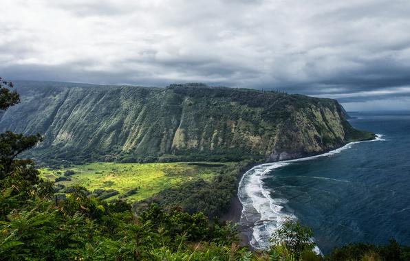 Картинка океан, Скала, Гавайи, Утес, США, Побережье, Waipio Valley