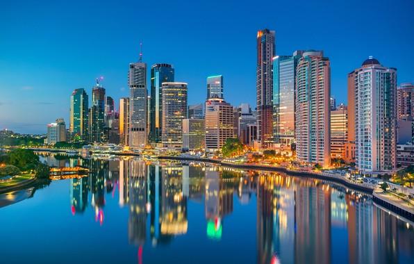 Картинка отражение, река, здания, дома, Австралия, набережная, небоскрёбы, Australia, Queensland, Брисбен, Brisbane, Квинсленд, Река Брисбен, Brisbane …