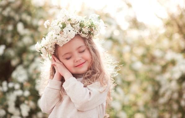 Картинка цветы, дети, улыбка, руки, девочка, веночек