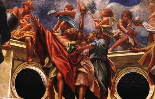 Картинка облака, фреска, Антонио Аллегри Корреджо, итальянская живопись, Девственный фрагмент