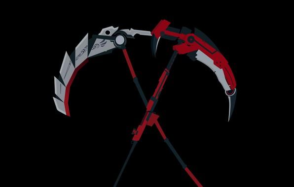 Картинка красный, оружие, серый, черный, аниме, коса, Red, Rose, Black, anime, White, Yellow, дядя, Роуз, модификация, …