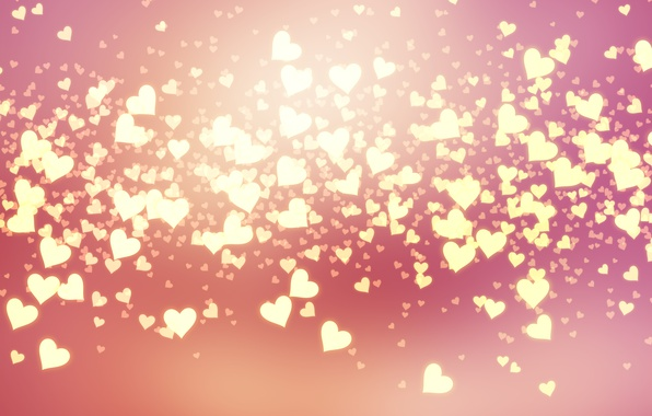 Фото обои bokeh, background, love, pink, romantic, сердечки, hearts, Valentine's Day