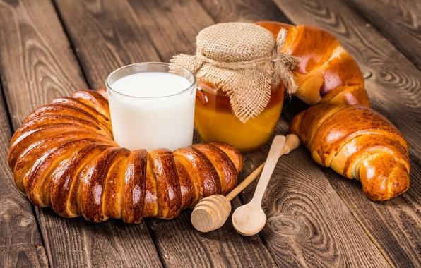 Картинка молоко, мед, honey, выпечка, булочка, bread, круассан, milk, croissants