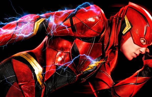 Картинка красный, фантастика, искры, костюм, черный фон, постер, комикс, DC Comics, Justice League, Флэш, The Flash, …