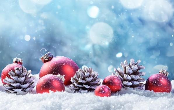 Картинка зима, снег, украшения, шары, елка, Новый Год, Рождество, happy, Christmas, шишки, winter, snow, New Year, …