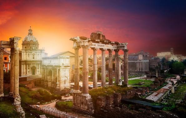 Картинка закат, город, Рим, Италия, руины, Ватикан, Roman Forum in Rome
