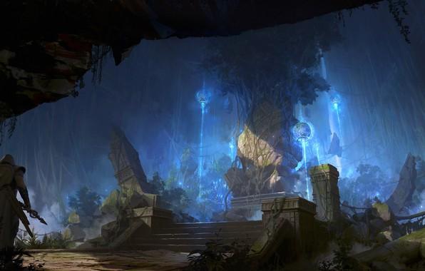 Картинка воин, руины, Tree of origin