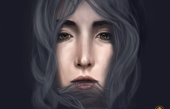 Картинка глаза, девушка, лицо, рисунок, портрет, серые волосы, author, portrait, kanni, kanni.pro