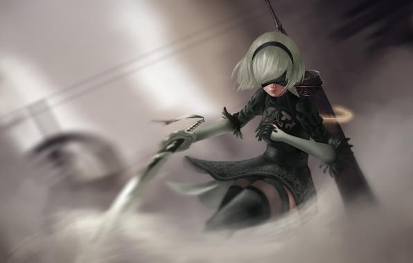 Картинка девушка, меч, киборг, art, nier, NieR: Automata, YoRHa No.2 Type B