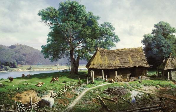 Картинка пейзаж, река, картина, сельский дом, Михаил Клодт, Вид в имении Загезаль близ Риги