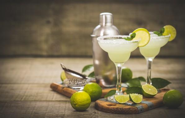 Картинка бокалы, лайм, напиток, cocktail, lime, Citrus