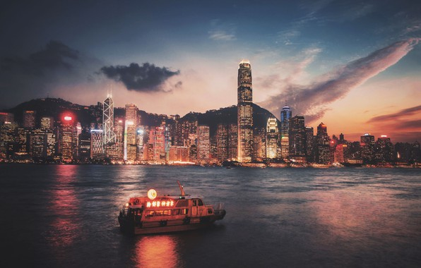 Картинка city, lights, night, Hong Kong, skyscrapers, Victoria