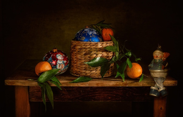 Картинка листья, праздник, шары, корзина, игрушки, новый год, столик, мандарины