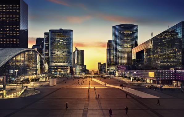 Картинка city, Paris, twilight, sky, sunset, square, France, evening, people, buildings, Arc de Triomphe, architecture, skyscrapers, …