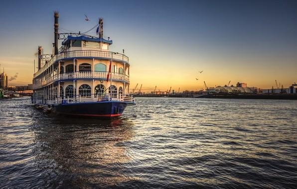 Фото обои Hamburg, корабль, Elbe