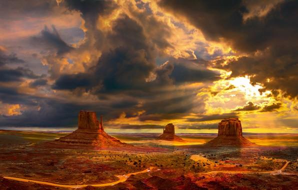 Картинка дорога, небо, солнце, облака, лучи, свет, пейзаж, тучи, природа, скалы, пустыня, вид, высота, долина, панорама, …