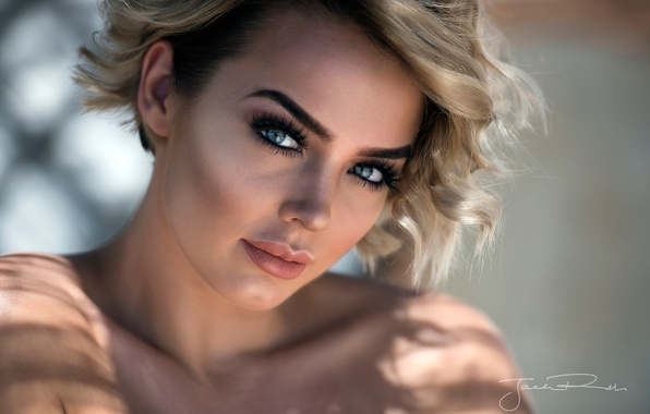 Картинка взгляд, лицо, модель, портрет, макияж, прическа, блондинка, красотка, боке, крупным планом, Rosie Robinson, Jack Russell