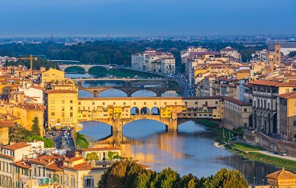 Картинка мост, city, город, Италия, Флоренция, Italy, bridge, panorama, Europe, view, Florence, cityscape, Toscana, travel, Ponte …