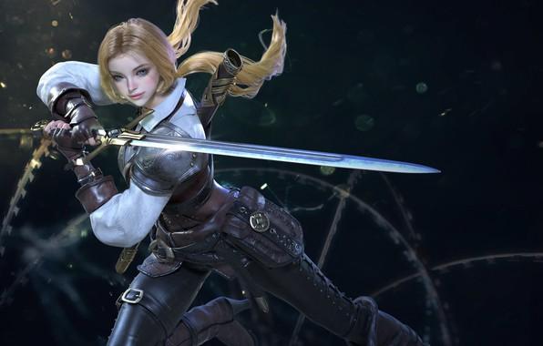 Фото обои взгляд, девушка, поза, рендеринг, оружие, фон, меч