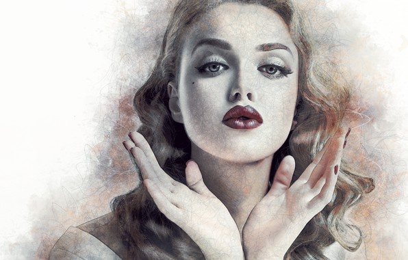 Картинка девушка, лицо, портрет, руки, арт, губы