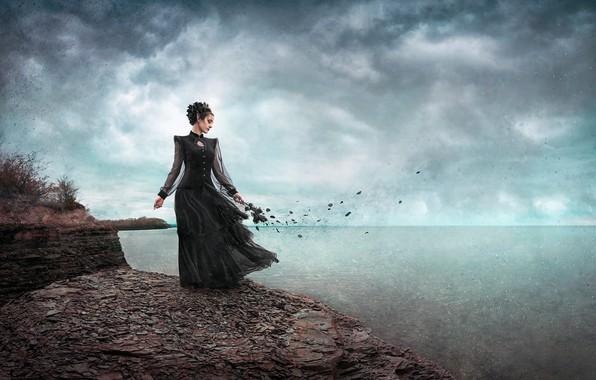 Картинка море, девушка, цветы, воспоминания, ветер, лепестки, платье