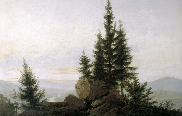 Картинка деревья, пейзаж, камни, картина, Каспар Давид Фридрих, Вид на Долину Эльбы