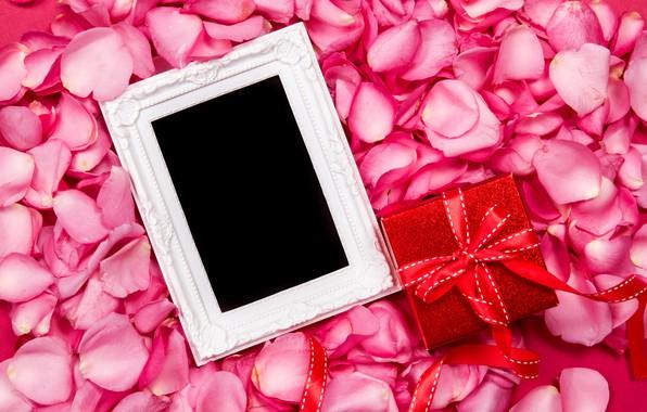 Картинка цветы, подарок, розы, рамка, лепестки, шелк, розовые, fresh, pink, flowers, beautiful, romantic, silk, gift, petals, …