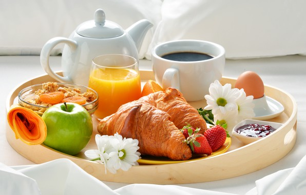 Картинка ягоды, кофе, яблоко, завтрак, клубника, сок, джем, coffee cup, strawberry, breakfast, круассан, мюсли, croissants