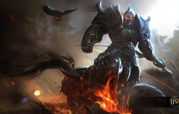 Картинка птица, воин, лук, шлем, кентавр, art, лучник, доспех, Heroes of Newerth, Emerald Warden, Dragoon, Daemon