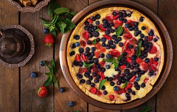 Картинка ягоды, мята, выпечка, Пирог