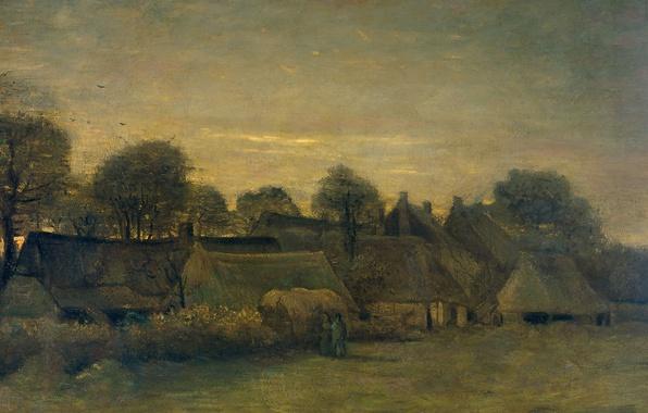 Картинка дом, масло, картина, Винсент ван Гог, Деревня Вечером