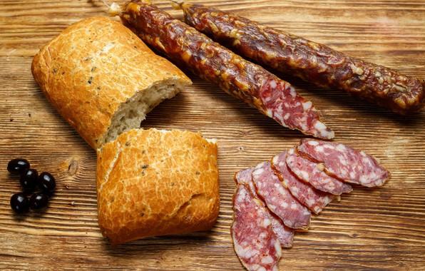 Картинка хлеб, колбаса, маслины