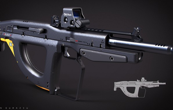 Фото обои bullpup, rifle, weapon, gun, concept, by drzoidberg96