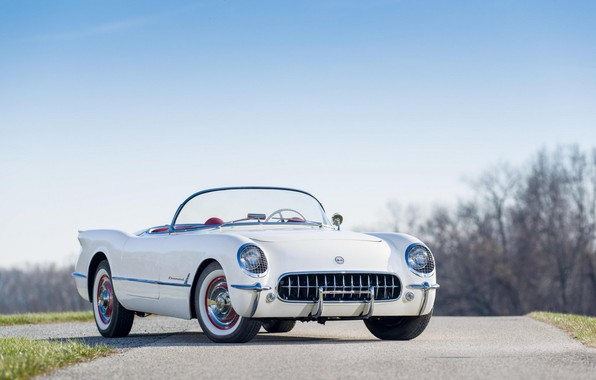 Картинка Classic, 1954, White, Polo, Chevrolt Corvette