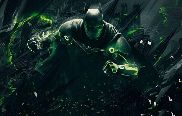 Картинка green, Batman, power, man, bat, hero, suit, DC Comics, Bruce Wayne, strong, Injustice, yuusha, super …