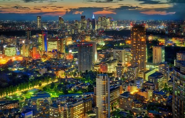 Фото обои огни, дома, вечер, Япония, Токио, мегаполис